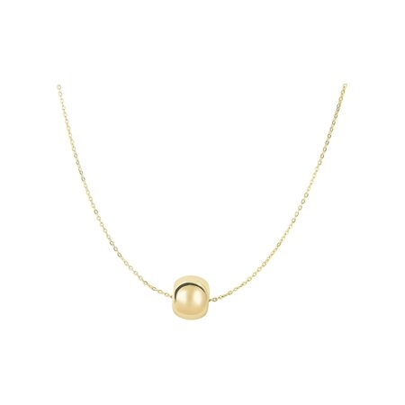 18 Adjustable Link (Finejewelers 14 Kt Yellow Gold 18 Inch 8.0mm Round Bead Adjustable Charm On 0.72mm Oval Link Cable Necklace W )