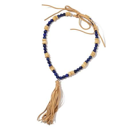 Shop LC Lapis Lazuli Wooden Beads Beige Faux Leather Tassel Fashion Pendant Necklace 24