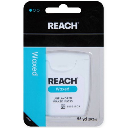 - REACH Unflavored Waxed Dental Floss, 55 yds