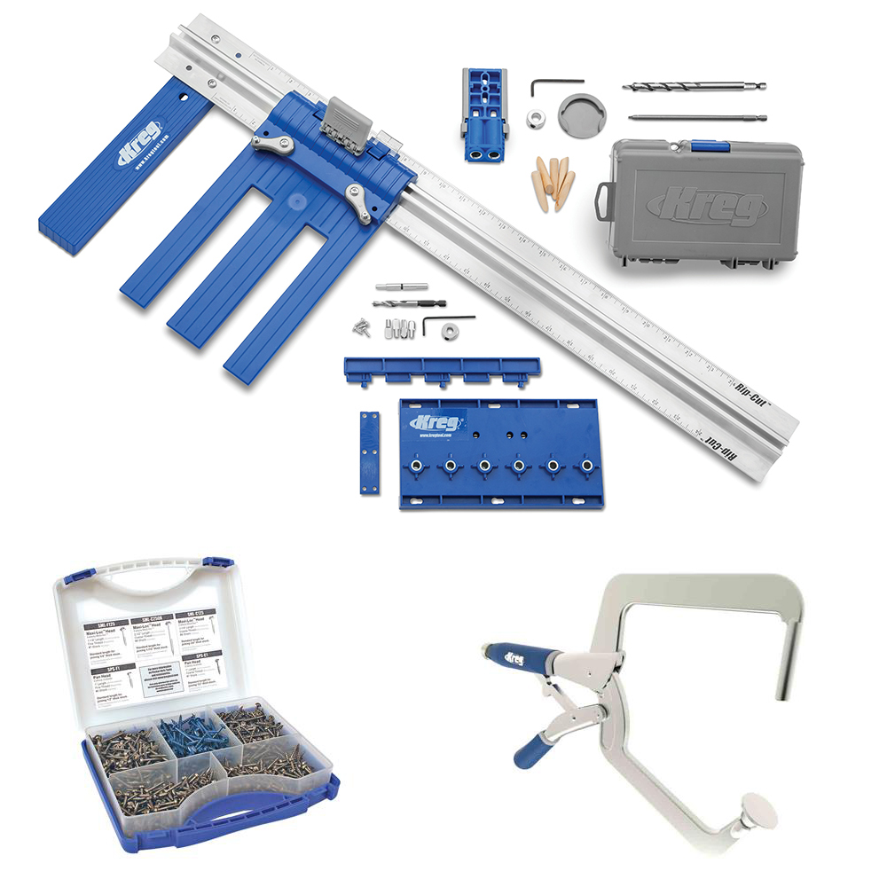 Kreg DIY Project Kit with Kreg Right Angle Clamp and Pocket-Hole Screw Kit