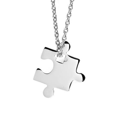 Women's Stainless Steel Jigsaw Puzzle Piece Pendant Necklace (Puzzle Piece Necklace Set)