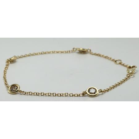 14k Yellow Gold Round Diamond Bezel Setting 4 Station Chain Bracelet (1 Ct, Natural Fancy Brown , I1 )