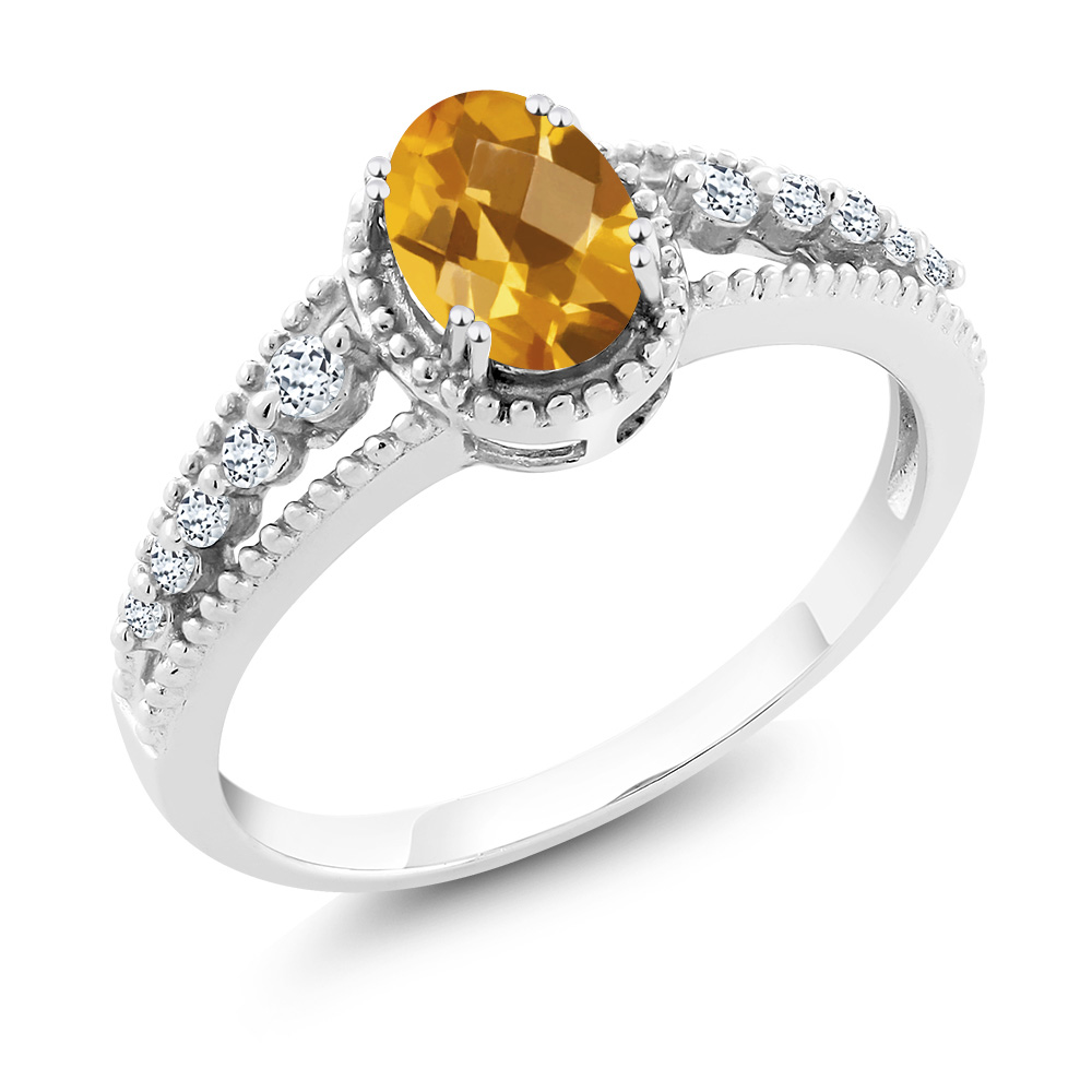 0.91 Ct Oval Checkerboard Yellow Citrine White Topaz 14K White Gold Ring