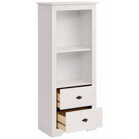Scandinavian Living Lando Bookcase Low Solid Pine Off White