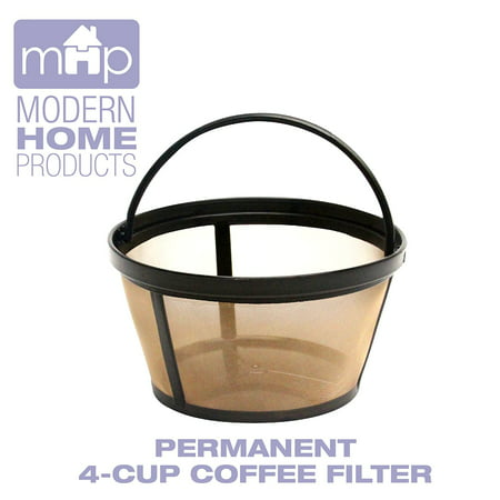 Permanent 4-Cup Basket Shape Gold Tone Coffee Filter fits Mr. Coffee 4-Cup Coffeemakers
