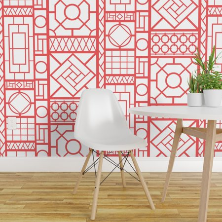 Wallpaper Roll Chinoiserie Trellis Coral White Asian Lattice Bamboo 24in x 27ft Bamboo Grass Cloth Wallpaper