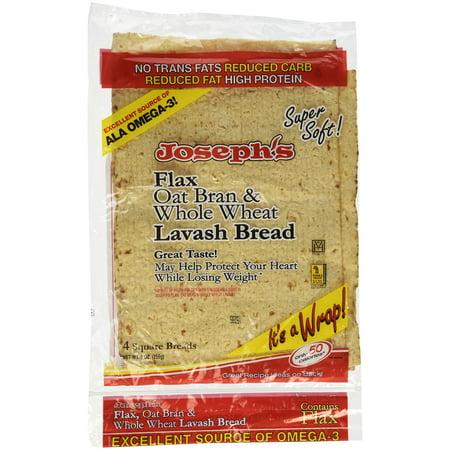 Joseph's Lavash Bread Flax Oat Bran & Whole Wheat Reduced Carb - 4 Square Breads 1