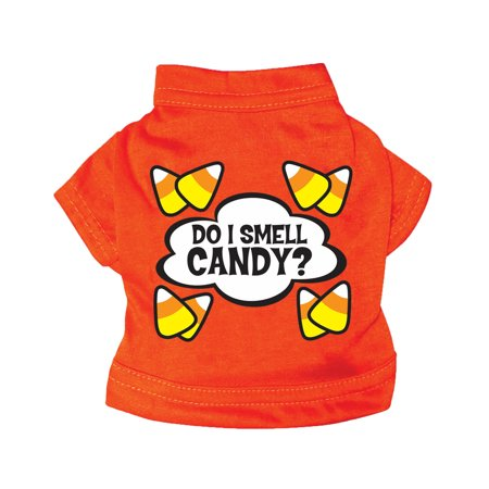 Smell Candy Candy Corn Dog Cat Orange Shirt Halloween Pet Costume (Top 10 Dog Halloween Costumes)