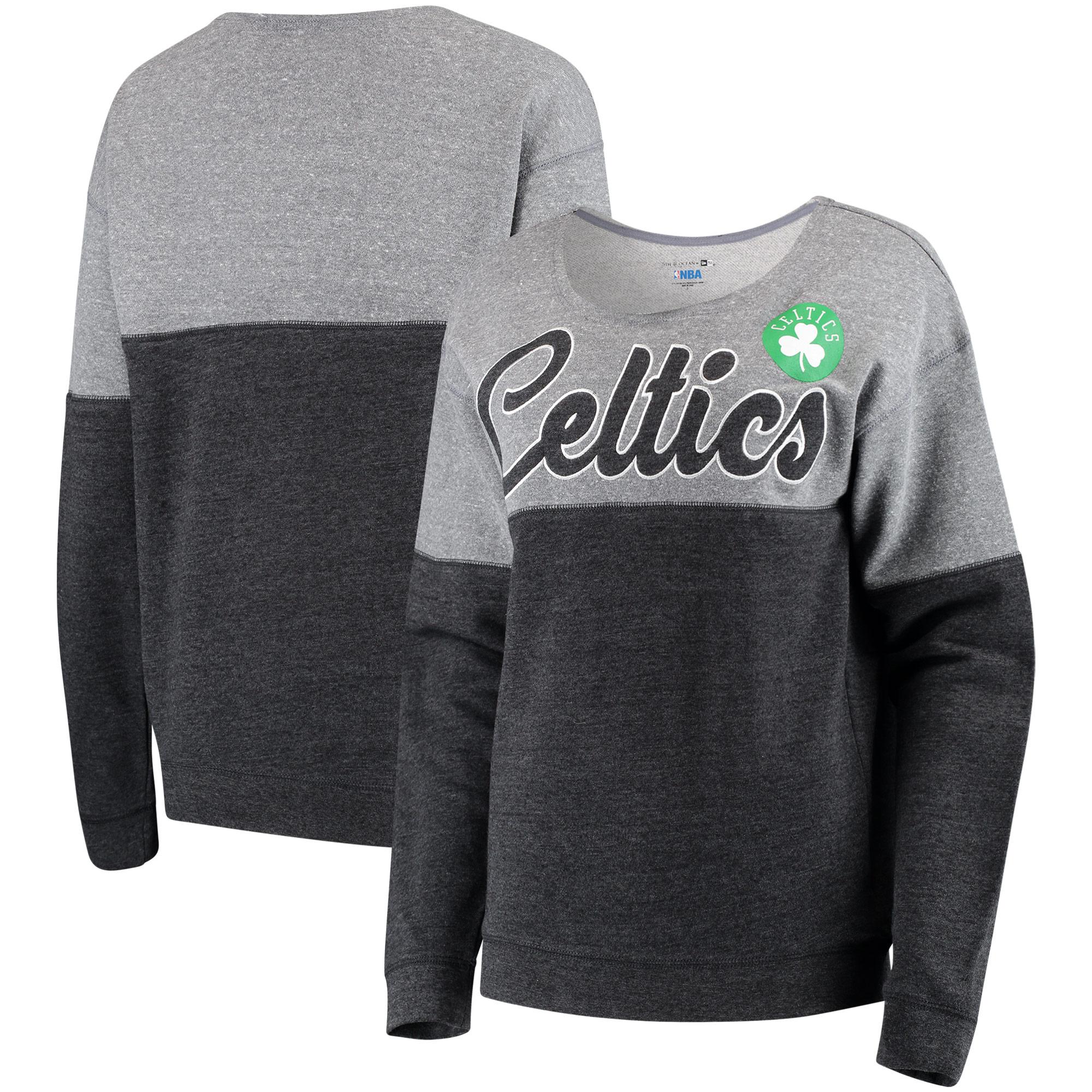 Boston Celtics New Era Women's Fleece Tri-Blend Scoop Neck Pullover Sweatshirt - Heathered Black/Heathered Gray