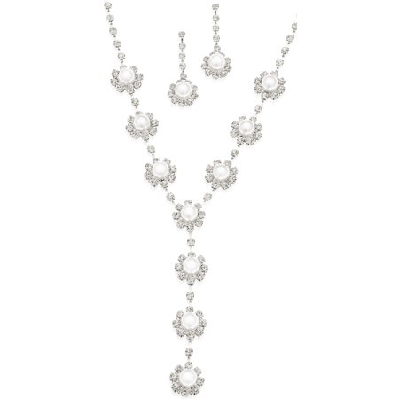 """16.5"""" + 3"""" extender flower rhinestone and acrylic pearl Y necklace with matching earrings."""