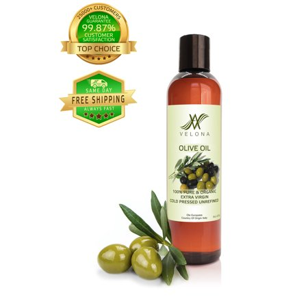 100% Organic Olive Oil by Velona | All Natural Clear Carrier Oil for Cooking and Face, Hair, Body & Skin Care | Extra Virgin, UNREFINED | Size: 8