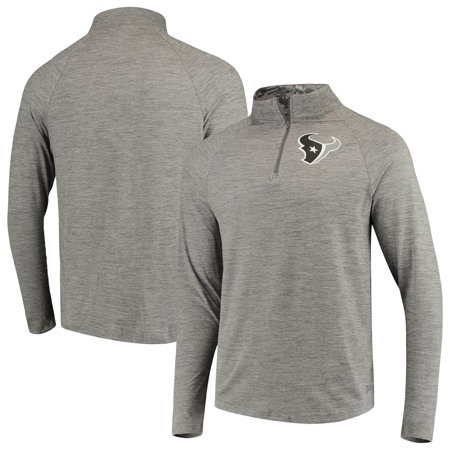 Men's Zubaz Gray Houston Texans Space Dye Quarter-Zip Jacket