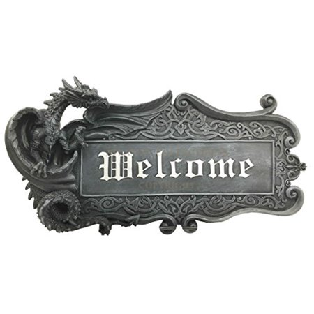 Medieval Gothic Dungeon Dragon Guarding Relic Welcome Sign Wall Mount  Sculpture Plaque Made of Resin