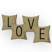 Checkerboard, Ltd Letters of Love Throw Pillow (Set of 4)
