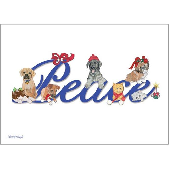 Pipsqueak Productions C703 Peace Mix Dog with Cat Christmas Boxed Cards - Pack of 10