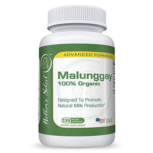 Mother's Select Malunggay for Breast Milk Increase - 120 Veggie Capsules, 100% Organic Moringa Powder, 350 mg per Capsule