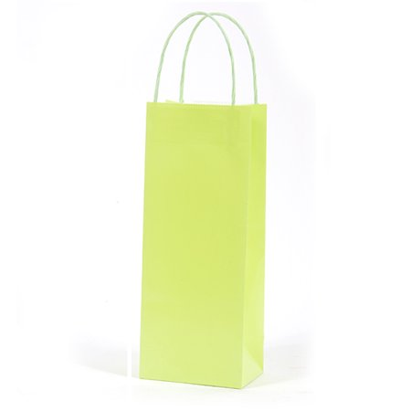 5W x 12 3/4H x 3 1/4G Bottle lime Green Gift Bag/Case of 60 - Lime Green Gift Bags