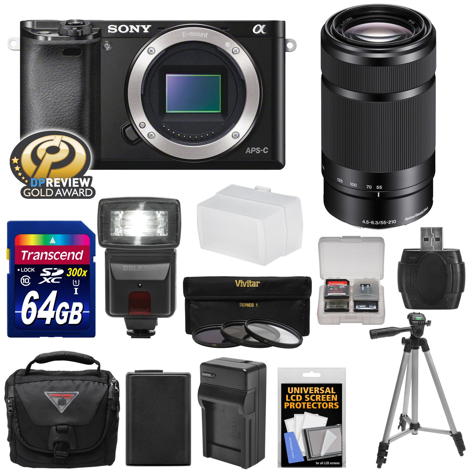 Camara Fotografica Compacta  SONY alfa A6000 WiFi Cámara Digital cuerpo (negro) con lente 55-210mm + tarjeta de 64GB + Flash + funda + trípode + cargador + Kit + Sony en Veo y Compro