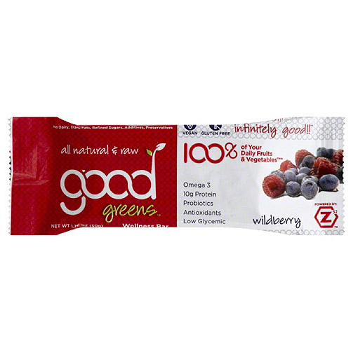 ***Discontinued***Good greens wildberry wellness bar, 1.76, (pack of 12)