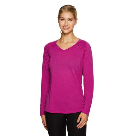 92b91b2aa2f64 RBX - RBX Active Women's Ventilated Long Sleeve Yoga V-Neck T-Shirt -  Walmart.com