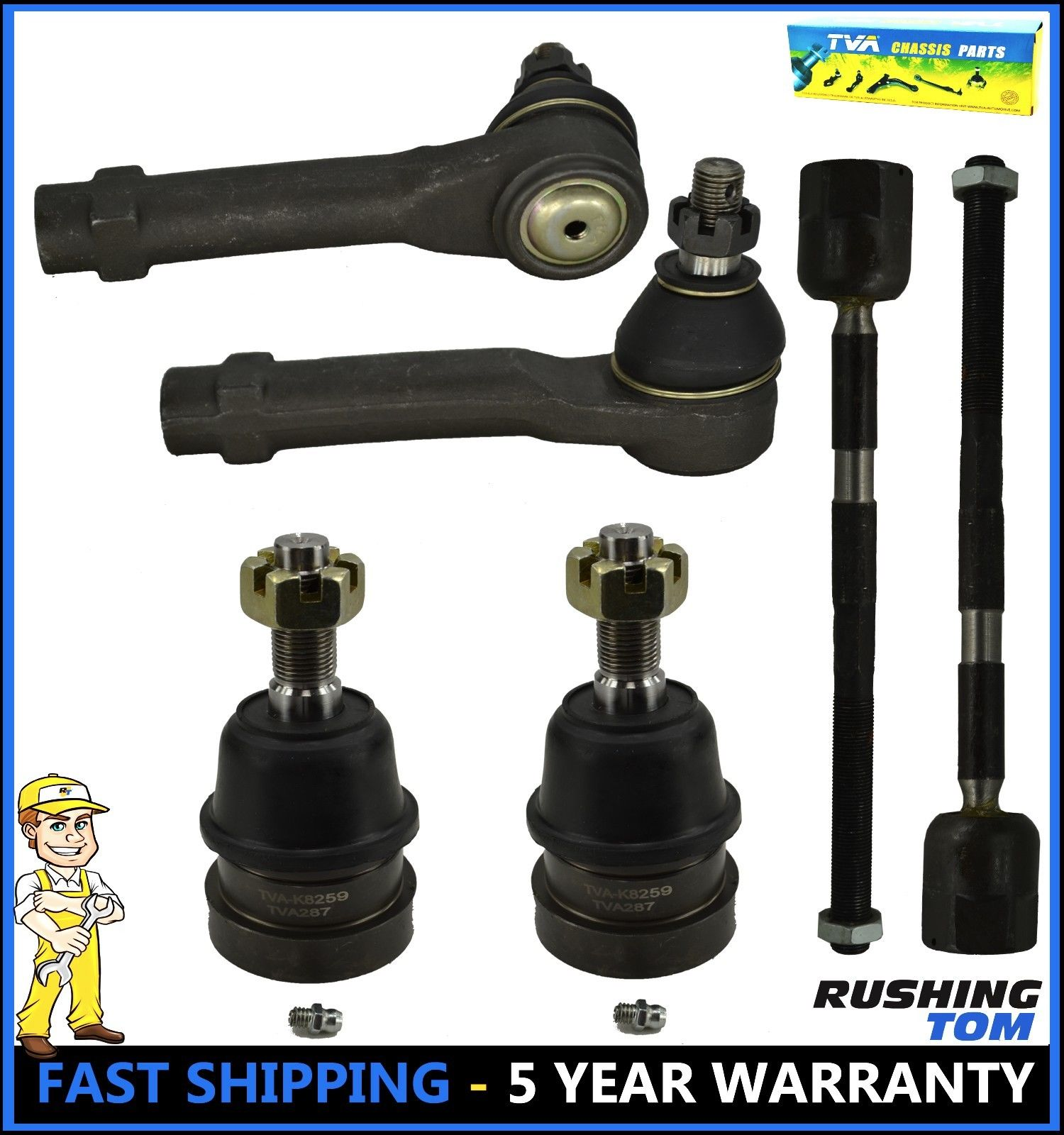 6 Pc Inner & Outer Tie Rod End With Lower Ball Joints Kit For Ford Mustang Capri