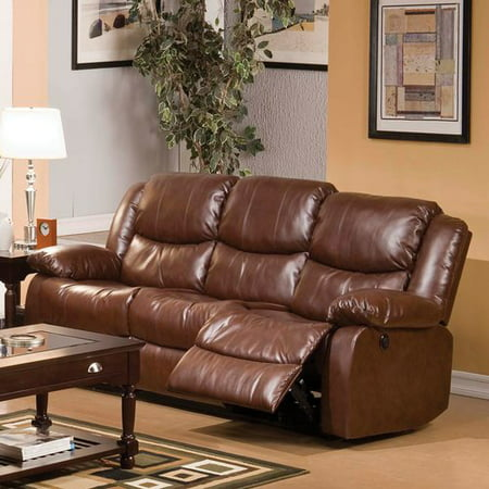 Acme Fullerton Reclining Sofa In Brown Bonded Leather