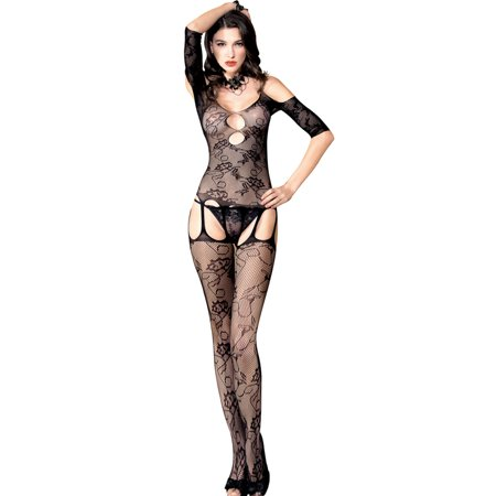 newest selection super cheap compares to classic fit JenniWears Womens Floral Short Sleeves Fishnet Crotchless Bodystocking  Lingerie