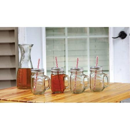 Mason Jars With Straws And Lids (Circleware Country 15-Ounce Mason Jar Mugs with Straws and Lids, Set of)