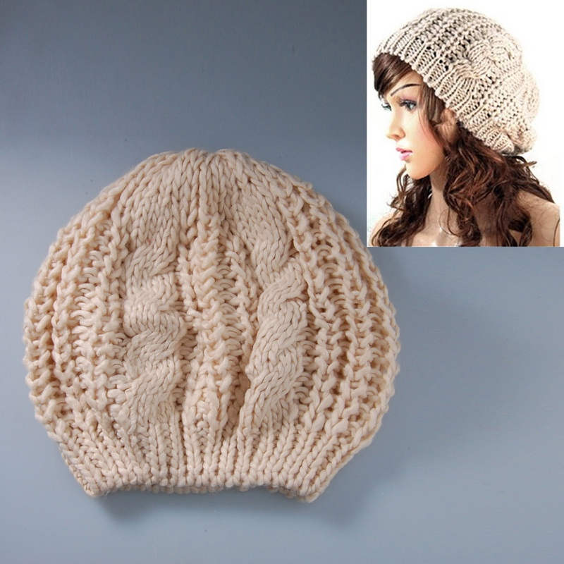 Dragonpad Women Winter Warm Knitted Crochet Baggy Beret cream-coloured