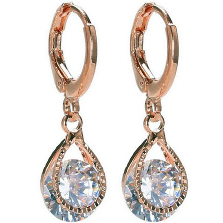 Diamond Drop Earrings in Rose Gold or Silver Finish - 8 Crystal Styles