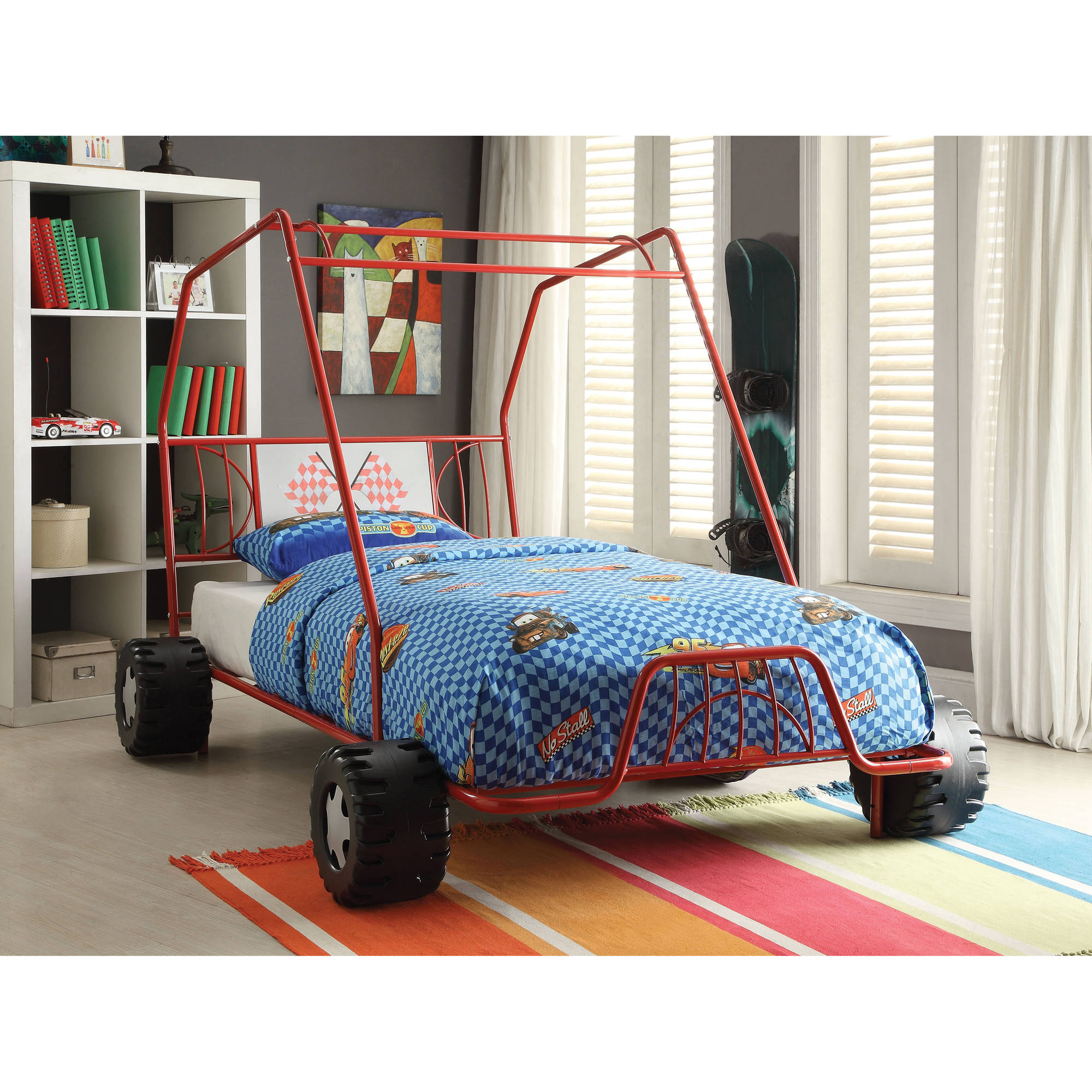 ACME Xander Twin Bed, Red, Box 1 of 2