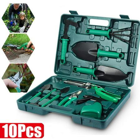 10Pcs Garden Tools Set with Storage Box , Shovel Sprayer Digging Weeder Rake Pruning Shears Gardening Tools Kit