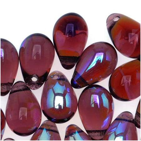 Czech Glass Beads 9mm Teardrop Amethyst Purple AB (50) (Purple M&m)