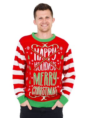 Happy Holidays Merry Christmas Crossed Out Ugly Christmas Sweater