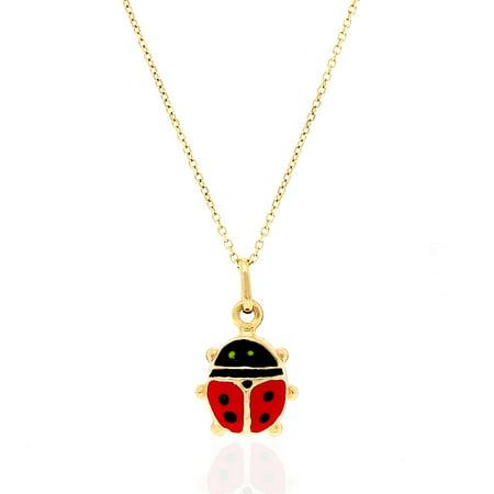 14k Yellow Gold Red Enamel Ladybug Charm Pendant 0.5