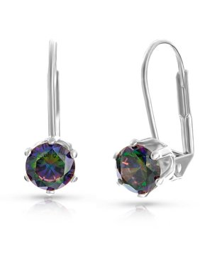 d4690a2f2 Product Image Mystic Topaz 18kt White Gold-Plated Round-Cut Leverback  Earrings