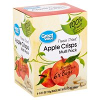 Great Value Freeze Dried Apple Crisps, Multi Pack, 6 ct, 0.4 oz