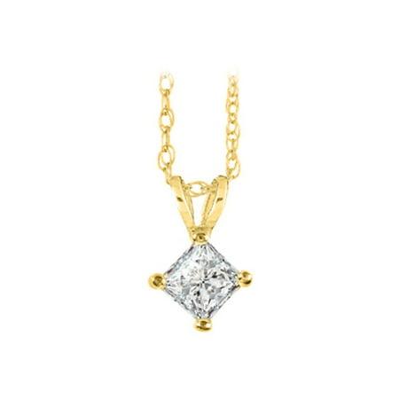 Princess Cut Diamond Solitaire Pendant with Free Chain - image 1 de 2