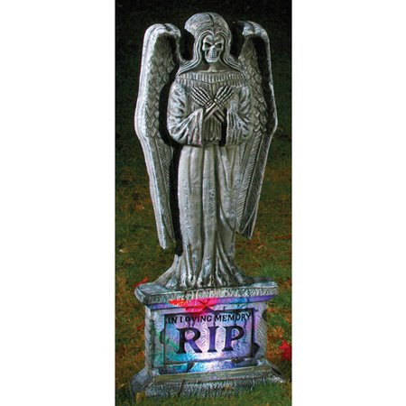 Lite Up Gothic Angel Tombstone Halloween - Gothic Halloween Decorations