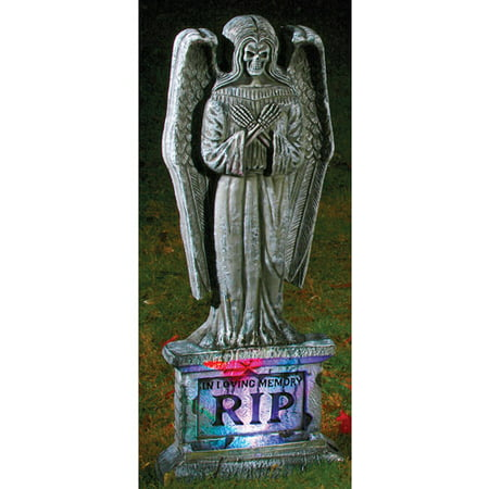 Lite Up Gothic Angel Tombstone Halloween Decoration