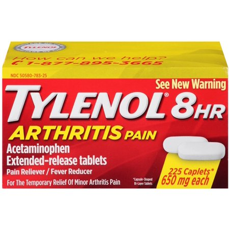 - TYLENOL 8 HR Arthritis Pain Extended Release 650 mg Caplets 225 ea (Pack of 2)