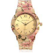 Women's Stainless Steel Floral Prink Link Fashion Watch, Gold