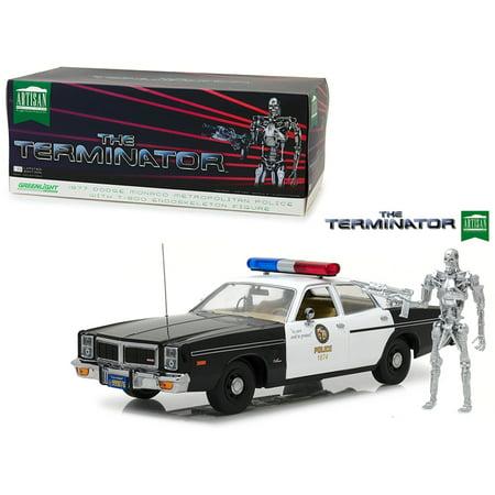 1977 Dodge Monaco Metropolitan Police with T-800 Endoskeleton Figure