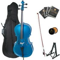 Cecilio Full Size 4/4 CCO-Blue Student Cello w/1 Year Warranty, Stand, Extra Set Strings, Bow, Rosin, Bridge & Soft Case