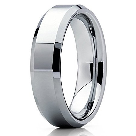 Tungsten Wedding Band 6mm Tungsten Ring Tungsten Carbide Engagement Ring Polished Silver Beveled Edge Comfort Fit Men & Women Beveled Edge Tungsten Ring