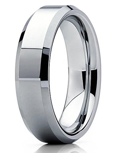 Tungsten Wedding Band Black Ring Mens Wedding Band 6mm Engagement Ring Brushed Black Tungsten Carbide Man Wedding Band Shiny Beveled Edges
