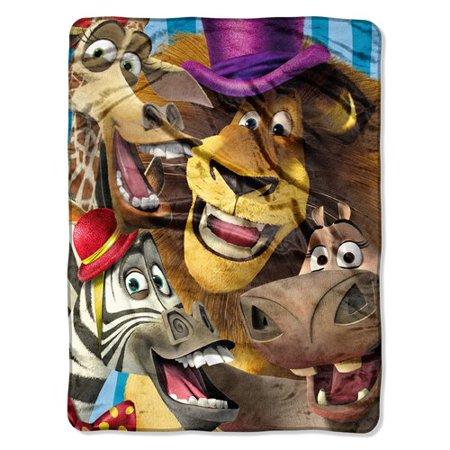 Madagascar 3 Big Faces Micro Raschel Plush Throw Blanket