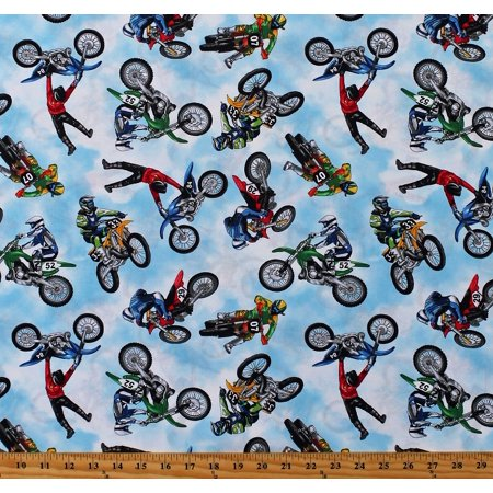 Cotton Dirt Bikes Motorcross Motocross Motorbikes Motorcycles Bikers Racing Sports Cotton Fabric Print by the Yard (GM-C8993-Multi) ()