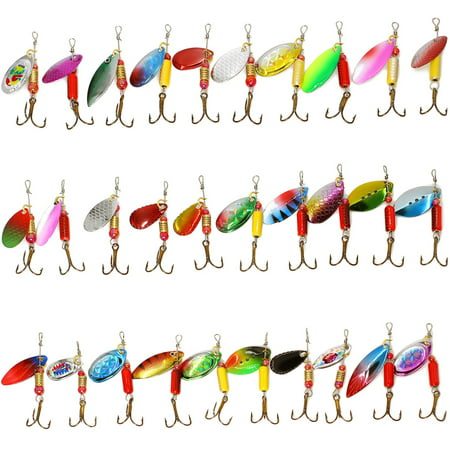30PCS Fishing Lures Spinnerbait for Bass Trout Walleye Salmon by Assorted Metal Hard Lures Inline Spinner Baits, 1 to 1.57 inches thumbnail