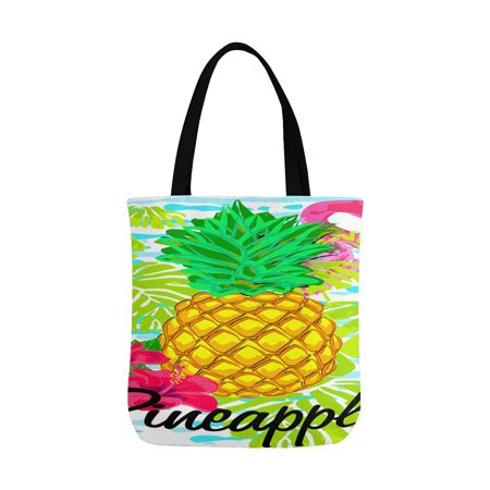 HATIART Pineapple Flamingos Tropical Flowers Summer Tropical Reusable Grocery Bags Shopping Bag Canvas Tote Bag Shoulder Bag - image 2 of 3